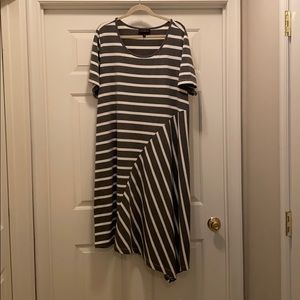Lane Bryant gray & white shirt dress, Sz 22/24